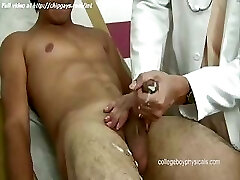 Hot doctor faps cock to boy