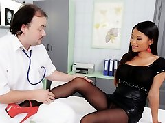 Tasty kinky Asian patient in stilettos gives blowjob and footjob to doctor