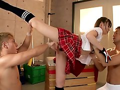 Flexible doll Fucks 2 Guys In The Gymnasium