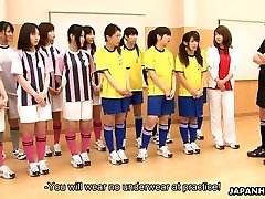 Japanese schoolgirls getting toy fucked during gym