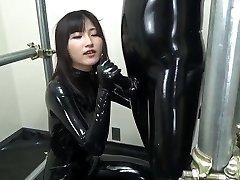 Asian blowjob in full rubber