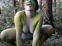 Stark naked Japanese ample frog female in the swamp HD