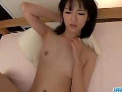 Ruri Okino tries cock in her jaws and in her twat