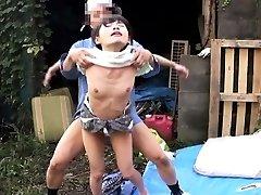 Dickblowing japanese outdoors in threeway fucked