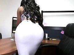 Bubble ass ebony secretary and white cock