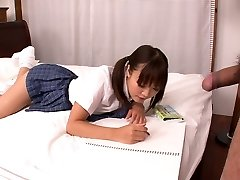 Lusty Asian school fuckslut Momoka Rin deep-throats juicy cock of her camera fellow