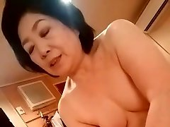 Asian grannie give the handjob