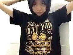 Hijab Muslim Thai Teenie Taking Off Her Clothes