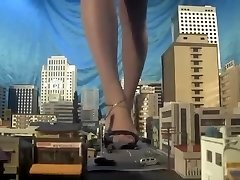 Huge japanese giantess, bootlessly,sandals,many cars kneed each step