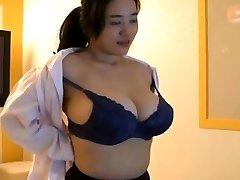 Korean nymph with big boobs tease
