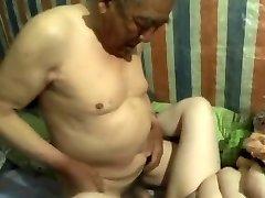 chinese granddad cum inside grandma