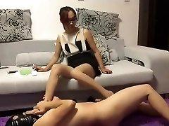 Chinese femdom ballbusting footjob jizz flow