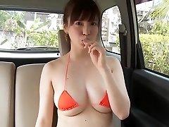 Shizuka Matsubara - Glorious Orange Bikini Girl Washing Car