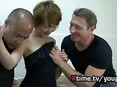 Double white hefty cock for a naive Japanese girl. brutal double penetration