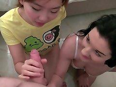Homemade huge-boobed asian teen threesome