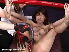 Japanese Intercourse Slave Tied To Bamboo Pole and Fucked Hard With Machines