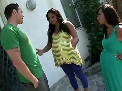 Handsome pornstars Leilani Leeanne and Adriana Luna in exotic creampie, pop-shots adult clip