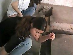 Chinese women caught urinating