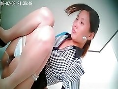 Chinese woman with small bush pussy caught peeing