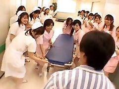 Asian nurses in a super hot gangbang