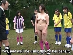 Subtitled ENF CMNF Japanese naturist soccer penalty game HD