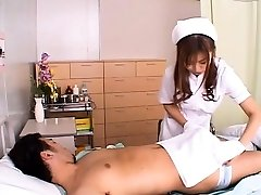 Japanese nurse gives head and rides hard-on vigorously
