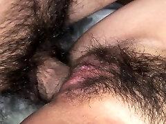 Hairy Asian babe Sayo Hayakawa bound and double fucked hard