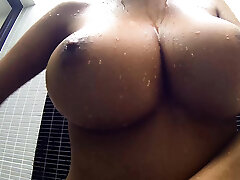 Big funbags Thai treat shows her shower cannons