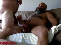 hairy muscle bear shooting a enormous load