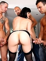 Hot ass big tits brunette cumfaced by 3 cocks after getting fucked in all her holes at the same...