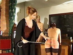 Daughter and mother spanked and flogged by strict teacher