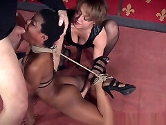 Black Bdsm Marionette With Bigtits Tied In Trio