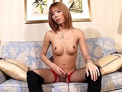 Solo T-girl In Nylons Railing On A Toy