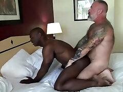 Black Muscle Stud Flip Fucks Tattooed Silver Daddy