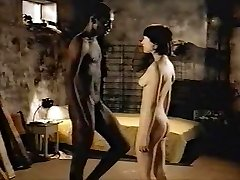 Brunette white girl with ebony lover - Softcore Interracial