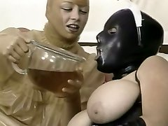 Two kinky girls in spandex garb lick each other snatches in 69 style