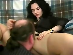 A woman making guy gobble her pretty pussy and treating him like poop