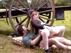 French maid in stockings fucks on a farm with xxl jizz shot