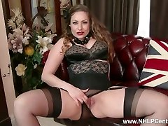 Natural big titties brown-haired Sophia Delane unwraps to nylons heels and wanks