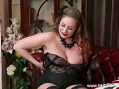 Natural big tits brown-haired Sophia Delane wanks in nylon high-heeled slippers