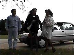 Antique clip of Babes enjoying flashing public romp