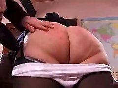 Mischievous granny gets her rump spanked hard