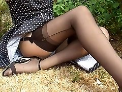 Polkadot Dress Ebony Nylon Stockings