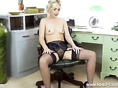 Office babe Aston Wilde strips off retro lingerie wanks off in nylons stilettos