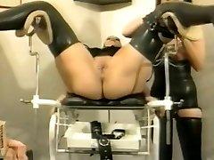 Bizarre german vintage rubber gynecology session