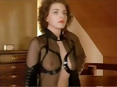 German femdom babe dominates a stud in a suit