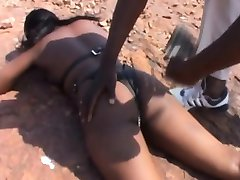 African ebony teen abused outdoor bdsm whipped