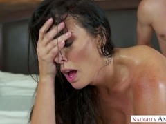 Bitchy step-mom Reagan Foxx gets personal with her son-in-law in the laundry room