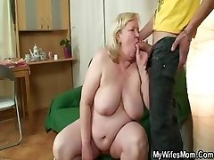 Huge grandmother is banged by her stepson on law