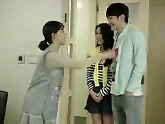 Mother & Son's Friend Smashes in the Kitchen - Korean Movie
